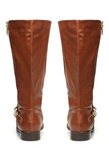 Evans Tan Gold Zip And Chain Riding Boots