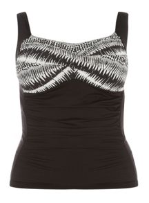Evans Black Printed Tankini Top
