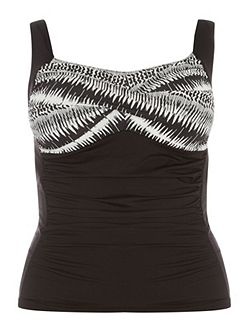 Black Printed Tankini Top