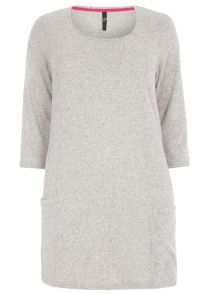 Plus Size Grey Soft Touch Pocket Tunic