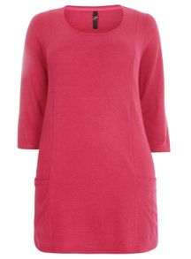 Plus Size Pink Soft Touch Pocket Tunic