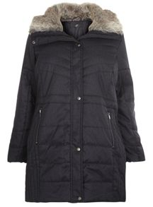Evans Grey Textured Padded Coat