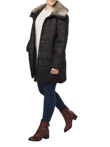 Grey Textured Padded Coat
