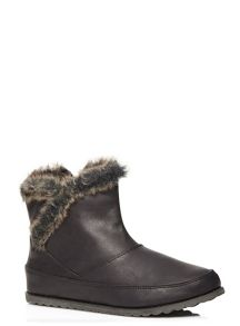 Evans Black Faux Fur Trim Ankle Boots