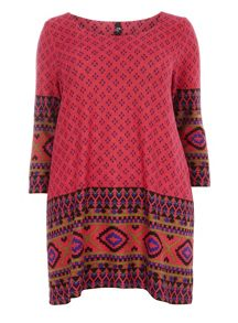 Pink Aztec Border Swing Top