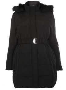 Evans Black Padded Belted Coat