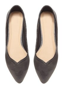 Black Lizard Effect Pointed Pump