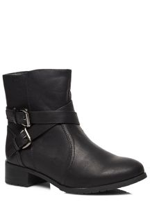 Evans Extra Wide Fit Biker Ankle Boot