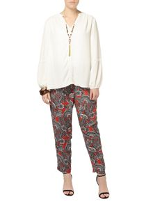 Plus Size Paisley Print Tapered Trousers