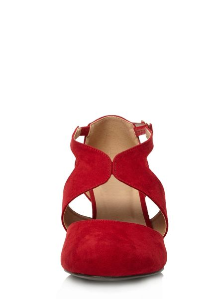 Evans Extra Wide Fit Red Suedette Cut Out Heel