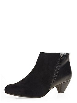 Extra Wide Fit Black Zip Trim Shoe Boot