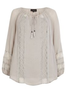 Plus Size Live Unlimited Lace Detail Gypsy Blouse
