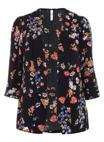 Plus Size Navy Printed Floral Jacket