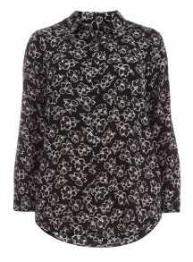 Plus Size Black Floral Print Shirt