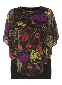 Evans Black Floral Printed Cape Top