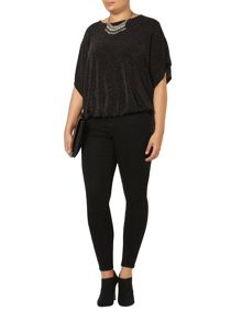 Black Sparkle Bubble Hem Top