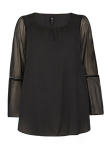 Evans Black Bell Sleeve Gypsy Top