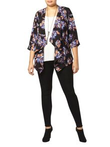 Flower Print 3/4 Sleeve Jacket