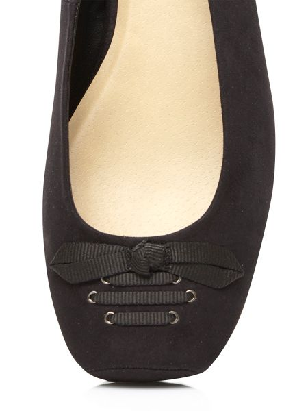 Evans Extra Wide Black Suedette Pumps