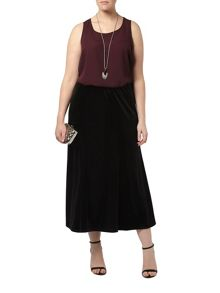 Black Velour Fit & Flare Skirt