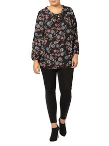 Evans Black Floral Printed Blouse