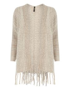 Evans Tan Honeycomb Tassle Cardigan