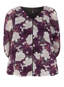 Evans Purple Printed Bubble Top