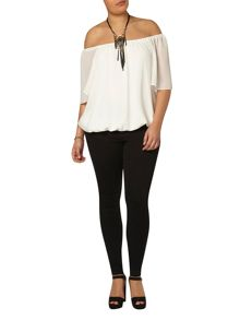 Evans Ivory bubble hem gypsy top