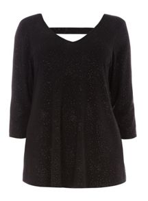 Evans Black Glitter Bar Back Top
