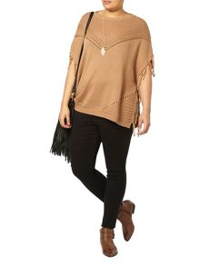Evans Camel Fringed Tabard Top