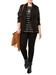 Evans Black Pu Leather Waterfall Jacket