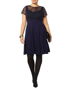 Evans Scarlett & Jo Navy Spot Mesh Layer Dress