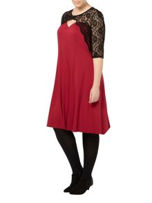 Evans Scarlett & Jo Red Cross Front Lace Dress