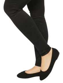 Evans Extra Wide Fit Black Suedette Pumps