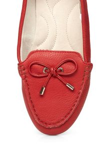 Extra wide fit red leather moccasin