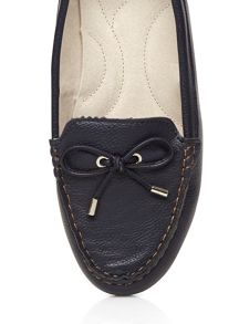 Extra wide fit navy leather moccasin