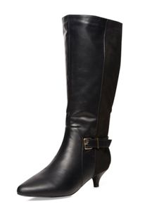 Extra Wide Fit Black Fabric Heeled Boot