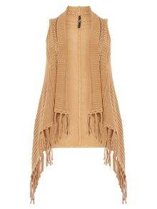 Evans Camel Cable Fringed Waistcoat