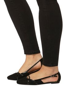 Evans Black Suedette Cut Out Shoe