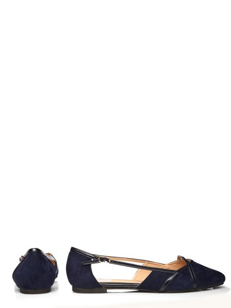 Evans Navy Suedette Cut Out Shoe