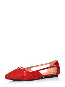 Red Suedette Cut Out Shoe
