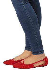 Evans Red Suedette Cut Out Shoe