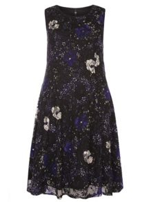 Evans Printed Jersey Lace Dress