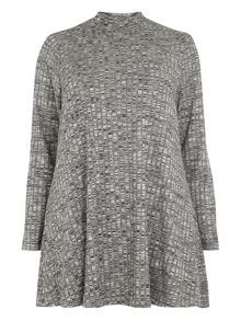 Evans Grey marl roll neck swing top