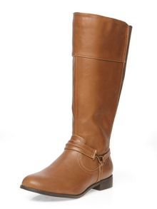 Evans Extra Wide Fit Tan Metal Trim Strap Boot