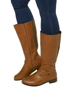 Extra Wide Fit Tan Metal Trim Strap Boot