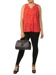 Evans Orange And Pink Printed Vest