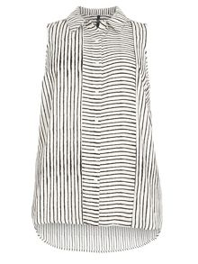 Ivory Stripe Sleeveless Shirt