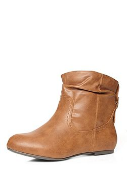 Extra wide fit tan ankle boot