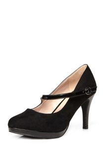 Extra wide fit black suedette heel